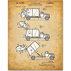Garbage Truck - 11x14 Unframed Patent Print - Art for Boy's Room
