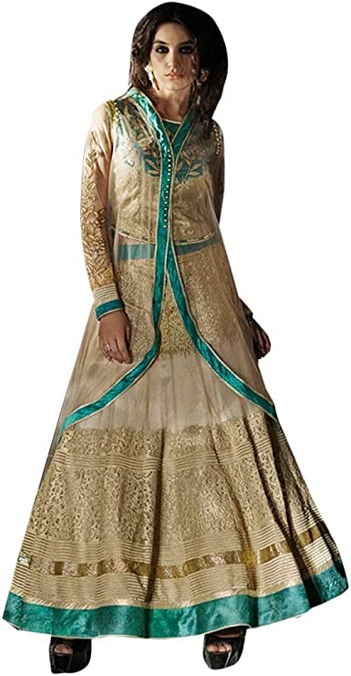 Pinkkart Golden and Skyblue Indowestern Fusion - Red de Licra para ...
