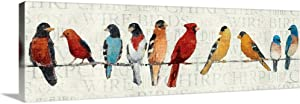 """The Usual Suspects - Birds on a Wire Canvas Wall Art Print, 36""""x12""""x1.25"""""""