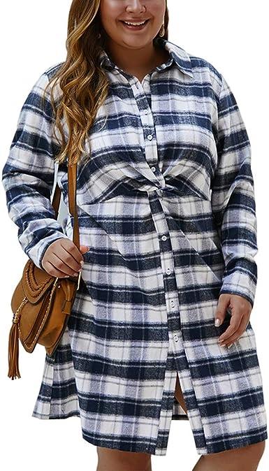 Mstyle Mens Plus Size Lapel Collar Long Sleeve Casual Plaid Print Button Down Dress Work Shirt