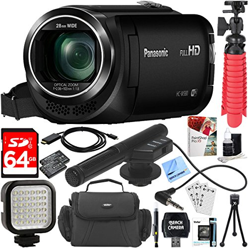 Panasonic HC-W580K Full HD Camcorder with Mini Zoom Microphone + 64GB SDXC Memory Card + Gadget Bag + Corel PaintShop Pro X9 + Microfiber Cloth + Memory Card Wallet + Card Reader + Tripod & More by Panasonic