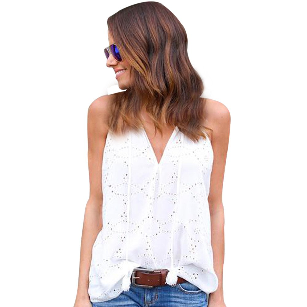 Women Tank Tops Sleeveless Solid Color Round Neck Vest Pullover Blouse T-Shirts (L, White)