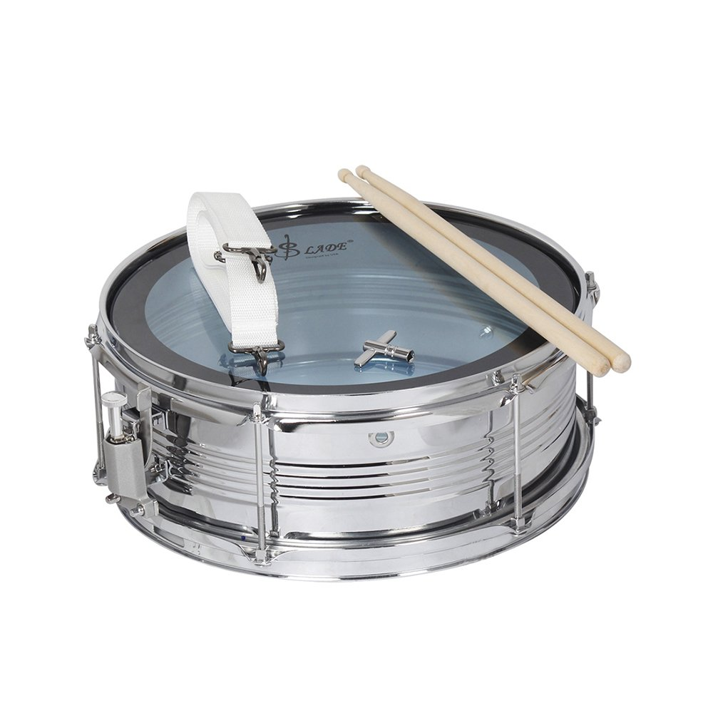 Muslady 14 in/inch Snare Drum Kit Stainless Steel Drum Body PVC Drum Head with Drum Bag Strap Drumsticks Drumstick Bag Drum Damper Gel Pads by Muslady (Image #7)