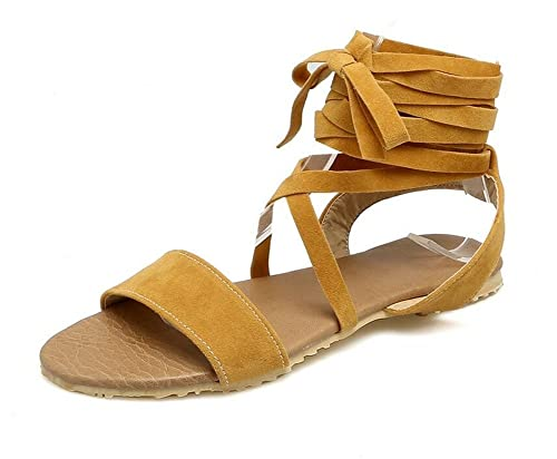 9850c1aadc186 WEIQI-Sandalias para Damas Correas Cruzadas Zapatos Planos ...