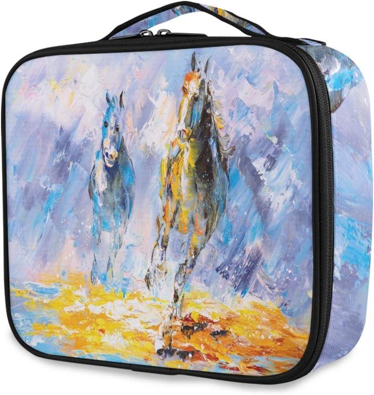 Mnsruu - Organizador de maquillaje portátil con separadores ajustables para pintura al óleo, diseño de caballo corriendo