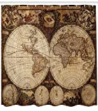 "Ambesonne World Map Shower Curtain, Old World Map Drawn in 1720s Nostalgic Style Art Historical Atlas Vintage Design, Cloth Fabric Bathroom Decor Set with Hooks, 75"" Long, Brown"