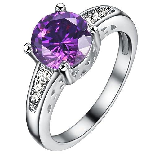 fendina para mujer bañado en plata flecha hombre amatista CZ cristal solitario promesa compromiso boda bandas