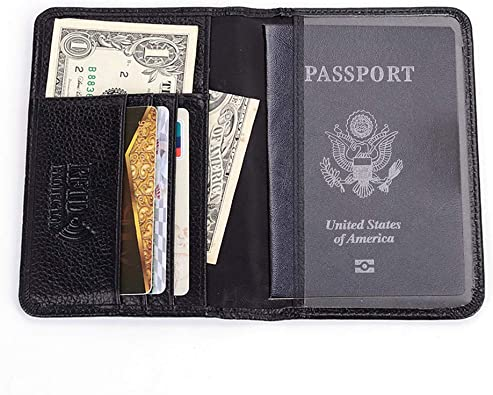 Men/'s Passport Holder RFID Blocking Genuine Top Grain Leather Travel Wallet