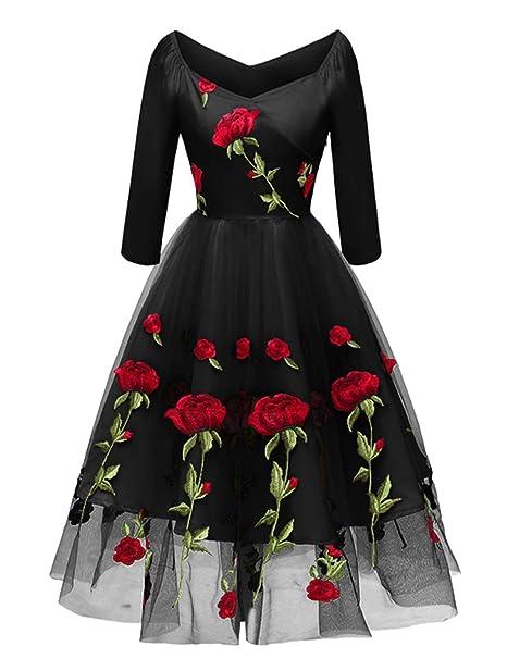 722369ec86b9b Molly Moda Vestito Midi a Fiori Ricamato Donna da Cerimonia Sposa Damigella  con Scollo Bardot