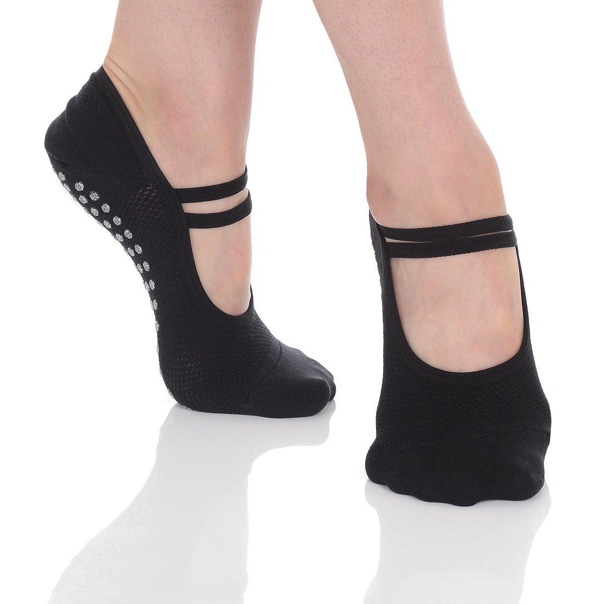 Great Soles Ballet Socks with Grip for Women - Non Slip Yoga Socks for Pilates, Barre (Black Mesh)