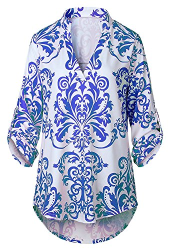 Stevenurr Popular,Hot Sell Floral Print V Neck Blouse 3 4 Cuffed Roll Up Sleeve Women