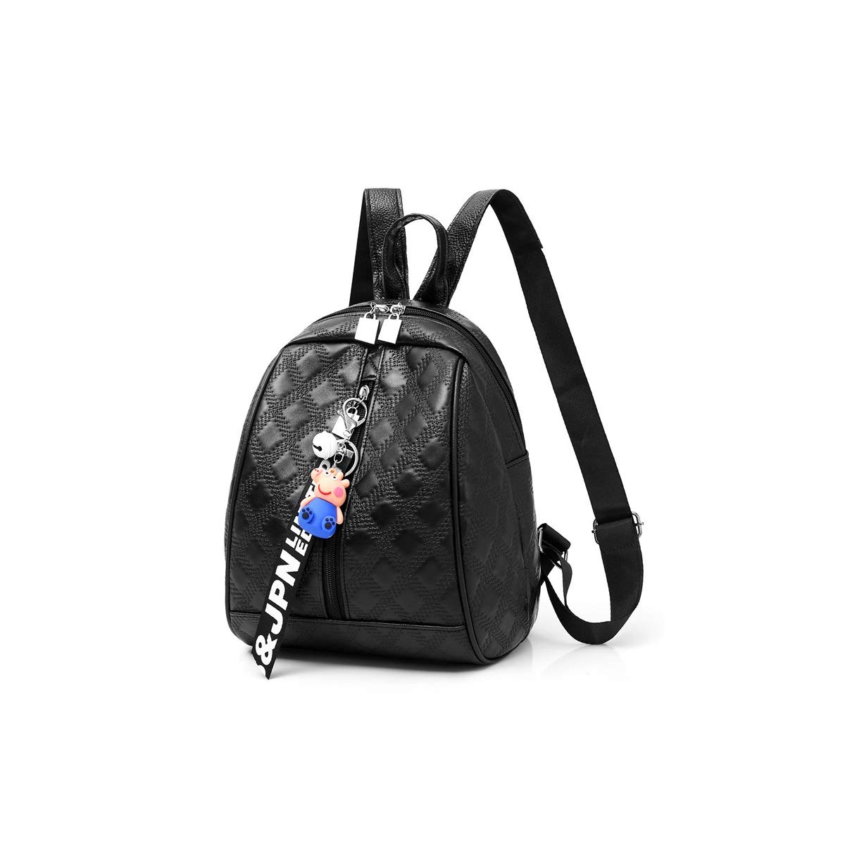 The Girl's Versatile Backpack is Perfect for Everyday Travel, Outdoor, Travel, School, Work, Fashion and Leisure. Black Diamond Pattern. (color   Black, Size   24cm28cm15cm)