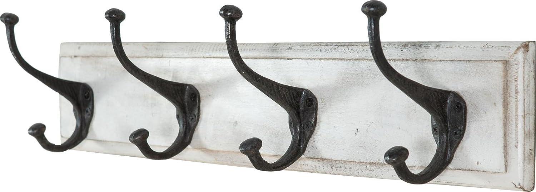 Biscottini Attaccapanni in Legno a 4 Ganci da Parete 60x12x16h cm