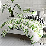 CLOTHKNOW Ivory Duvet Cover Sets Queen, 3 Pieces Bedding Sets Full Floral Plants - 1 Cotton Duvet Cover Zipper Closure 2 Envelope Pillowcases Standard, Green Spring Bed in a Bag Black Striped