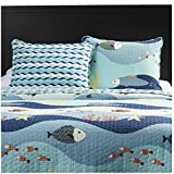 Lightweight Blue Seaside Ocean Print Quilt Set For Teens Boys & Girls Bedroom - Twin Size