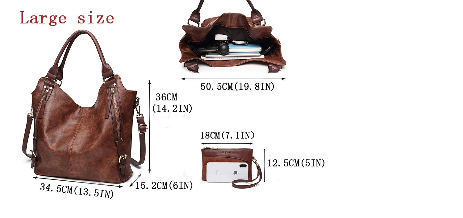 2018 HOT Women Tote Bag Handbags PU Leather Fashion Large Capacity Hobo Shoulder Bags with Adjustable Shoulder Strap by ITSCOSY (Image #4)
