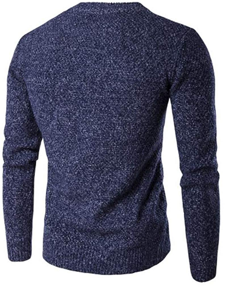 Cromoncent Mens Thicken Burnout Casual Crewneck Knitted Pullover Jumper Sweaters
