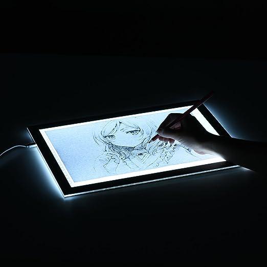 Tickas LEDライトパッド、L4S Protable超薄型LEDライトパッドアクリルパネルLED描画ライトパッドUSB搭載、明るさ調整可能