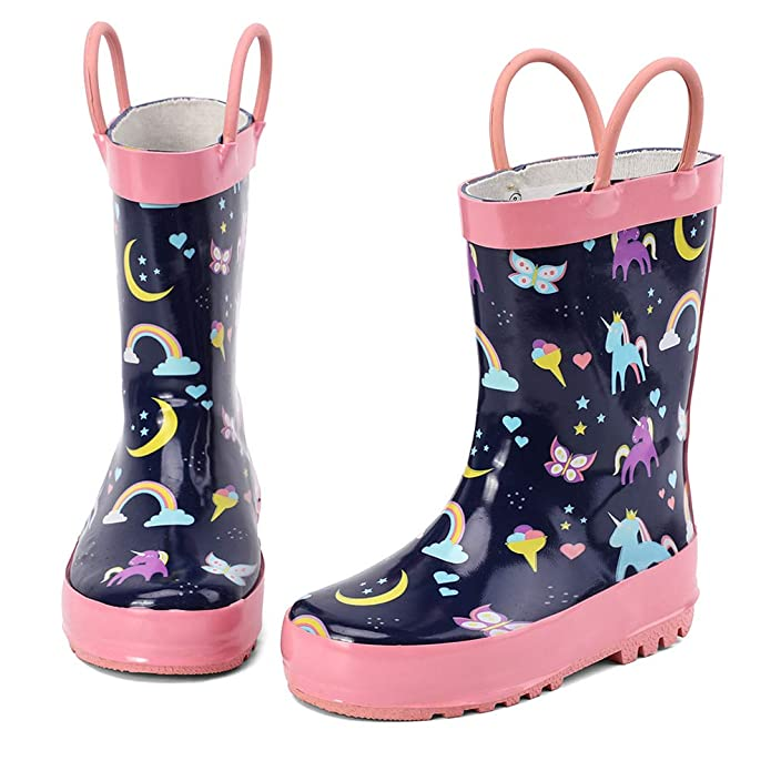 ALEADER Kids Waterproof Rubber Rain Boots for Girls, Boys & Toddlers with Fun Prints & Handles
