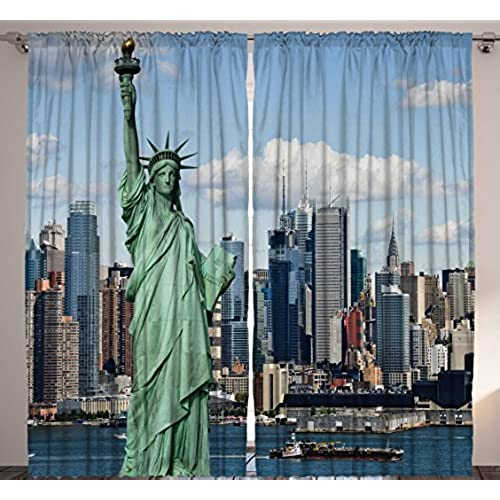 navy and gray curtains window new york manhattan famous city americana decorations print curtains for bedroom living kids room home decor panels set blue green gray navy beige and your room amazoncom