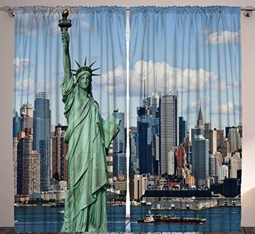 Modern Curtains by Ambesonne, Classroom 4th of July Decor Statue of Liberty New York