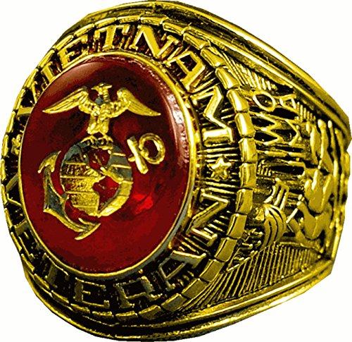US Marine Corps Vietnam Veteran 14k Gold Plated Ring (10) - Vietnam Veteran Rings