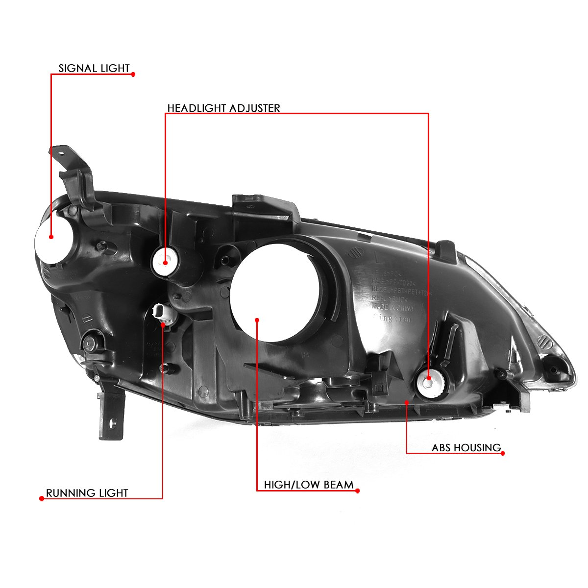 DNA Motoring HL-OH-HC01-BK-AM Headlight Assembly Driver and Passenger Side