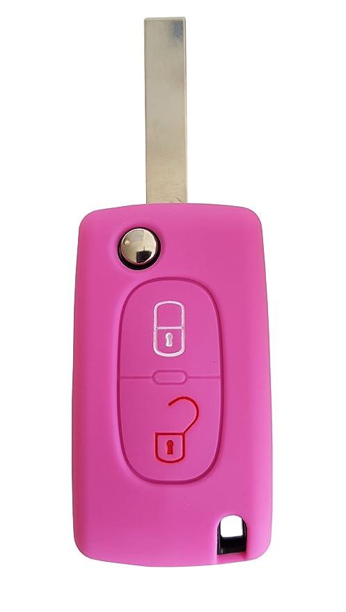 Carcasa CK+, para llave de coche, funda de silicona rosa: Amazon.es: Electrónica