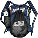 Tigerbro Sports Backpack String Gym Bag Navy with Ball Holder for Basketball Soccer Rugby Rackets Helmet