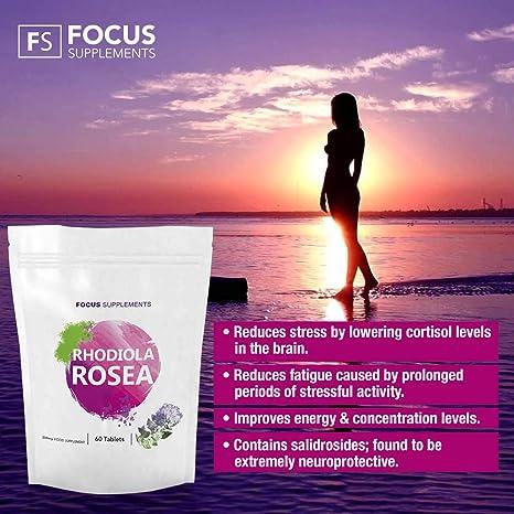 Rhodiola Rosea 200 mg Comprimidos de Focus Supplements- Fuente de Alta Calidad de Rosavin y Salidrosida   PÉRDIDA DE PESO Y AUMENTO DE ENERGÍA   Fabricado ...