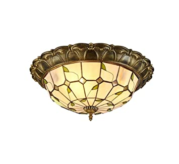 GAOLIQIN LED Tiffany Style Ceiling Light Hand Crafted ...