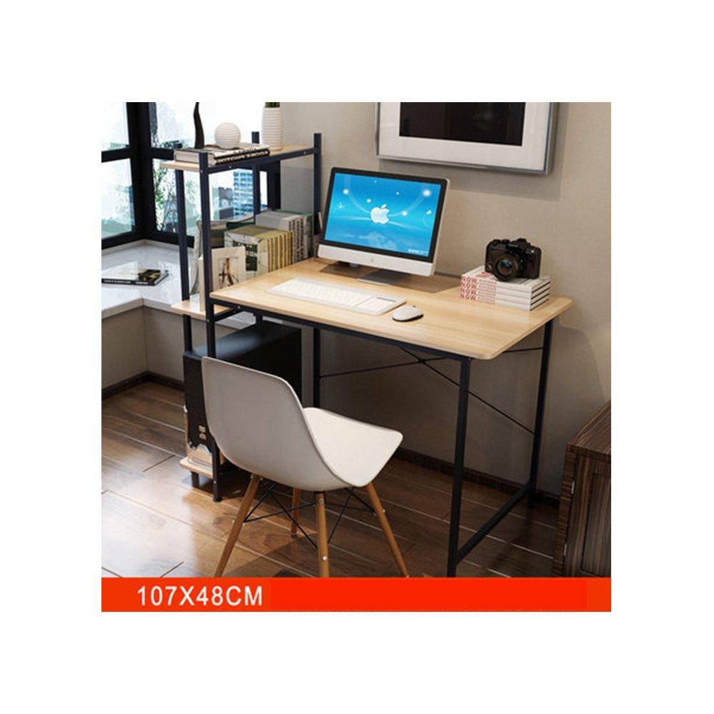 パソコンデスク 収納ラック付き PCデスク 省スペース 木目調 両用デスク コンピュータラップトップスタディデスクテーブルホームオフィス家具 B07BZ5H5ZR カラー2 カラー2