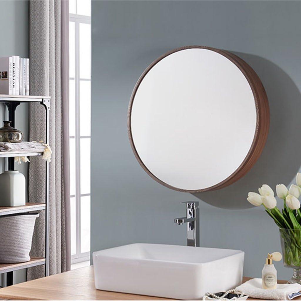 Runder Spiegel, Badezimmer Spiegelschrank Schiebe Spind Walnuss Holz Wand  montiert Spiegel 18 * 18cm Spiegel