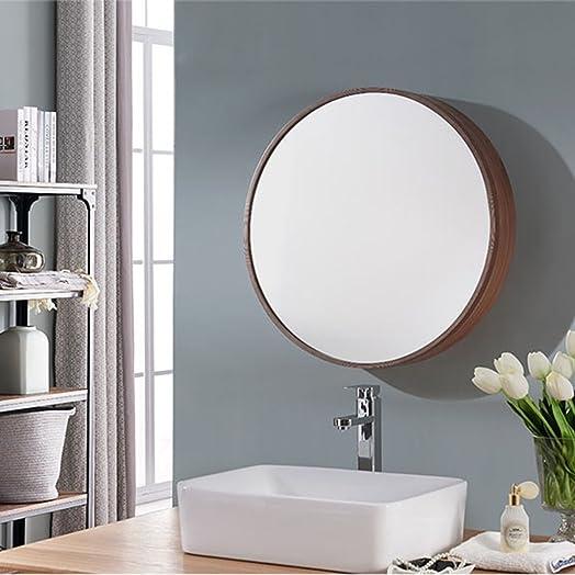 HGXC Round Mirror, Bathroom Mirror Cabinet Sliding Locker Walnut Wood Wall Mounted Mirror 50 50cm Mirror