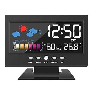 Higrómetro termómetro DIGOO, estación meteorológica a color, reloj despertador digital con función de repetición, control por voz, pantalla LED