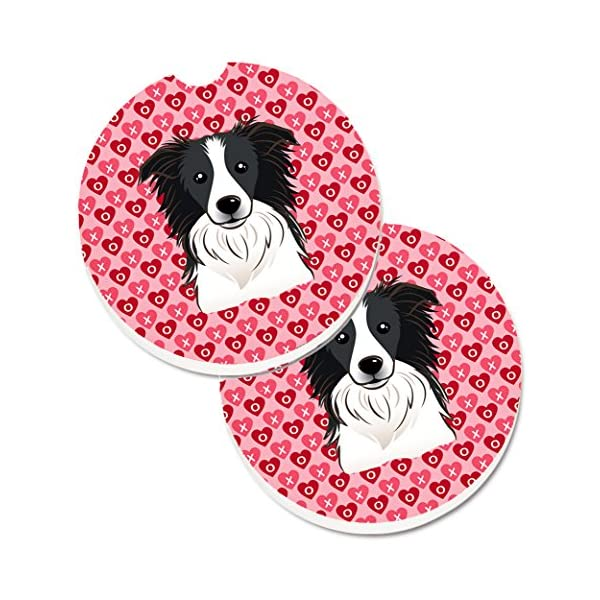 Caroline's Treasures BB5311CARC Border Collie Hearts Set of 2 Cup Holder Car Coasters, Large, multicolor 1