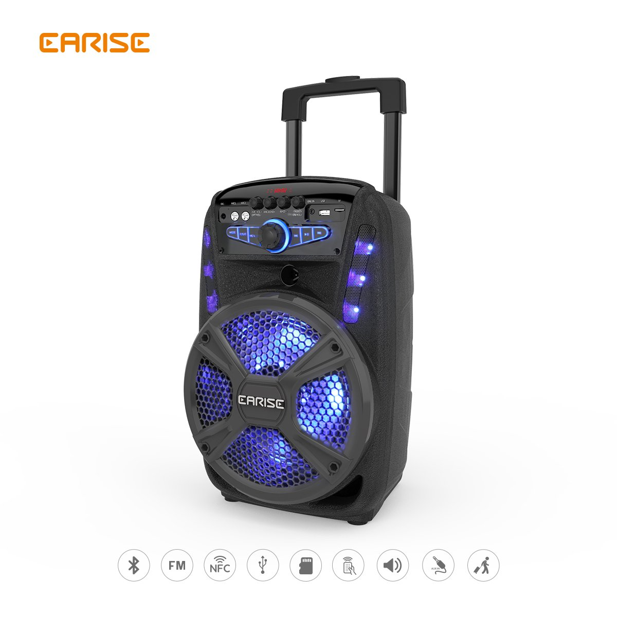 "EARISE 15-D/V16-D Audio Bluetooth PA System Portable Rechargeable 8"" /12"" Speaker with Wireless Microphone, Remote Control, FM Radio, LED Light, AUX/TF/USB/NFC, Stands Option (V15-D)"