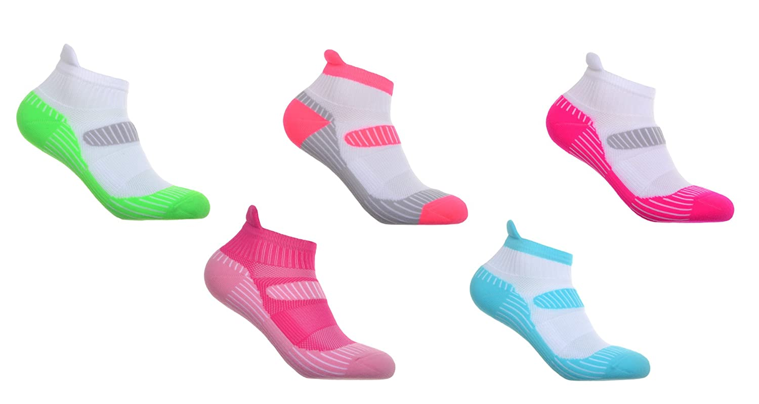 Lightweight Ankle /& Arch Support 5 Pairs of Womens Running socks Padded