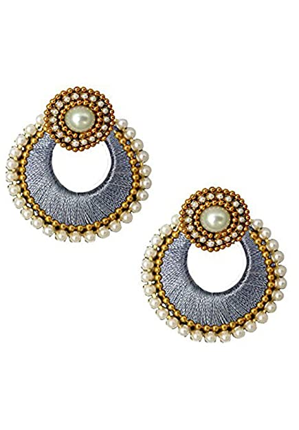 Amazon Com Silk Thread Chandbali Earrings With Designer Studs