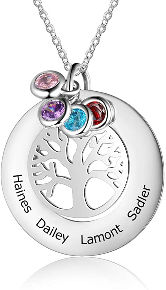 Lorajewel Collar de plata del árbol de la vida Personalizado para ujer Colgante del árbol Genealógico Namenecklace con 4 Piedras de Nacimiento Simuladas Nombre Grabado