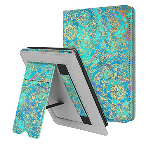Fintie Stand Case for Kindle Paperwhite (Fits All-New 10th Generation 2018 / All Paperwhite Generations) - Premium PU Leather Protective Sleeve Cover with Card Slot and Hand Strap, Shades of Blue ()