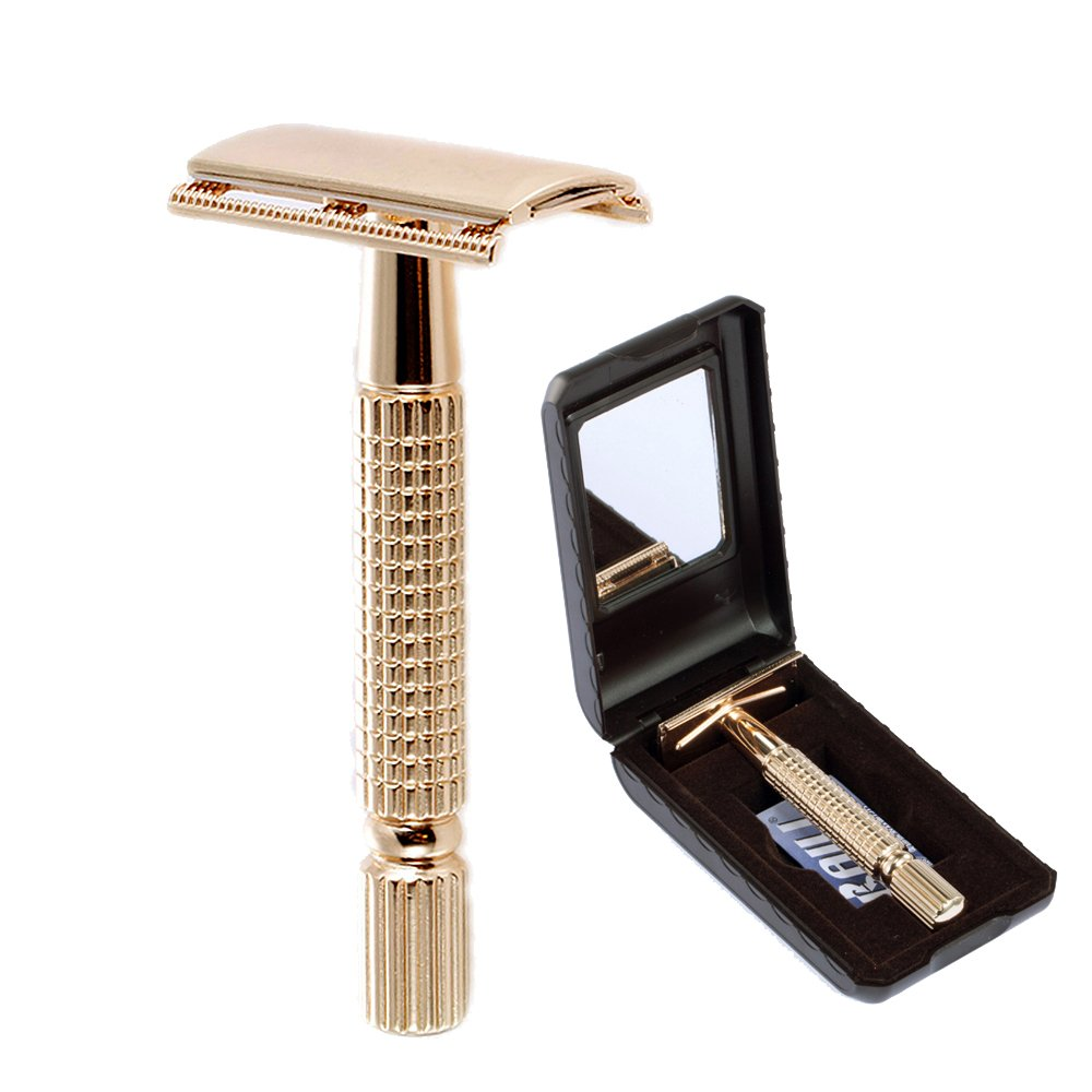BAILI Men's T-Shaped Shaving Safety Razor Shaver Handle Trimmer Knife Beard Care +1 Blade +1 Mirrored Travel Case Rose Gold BT173