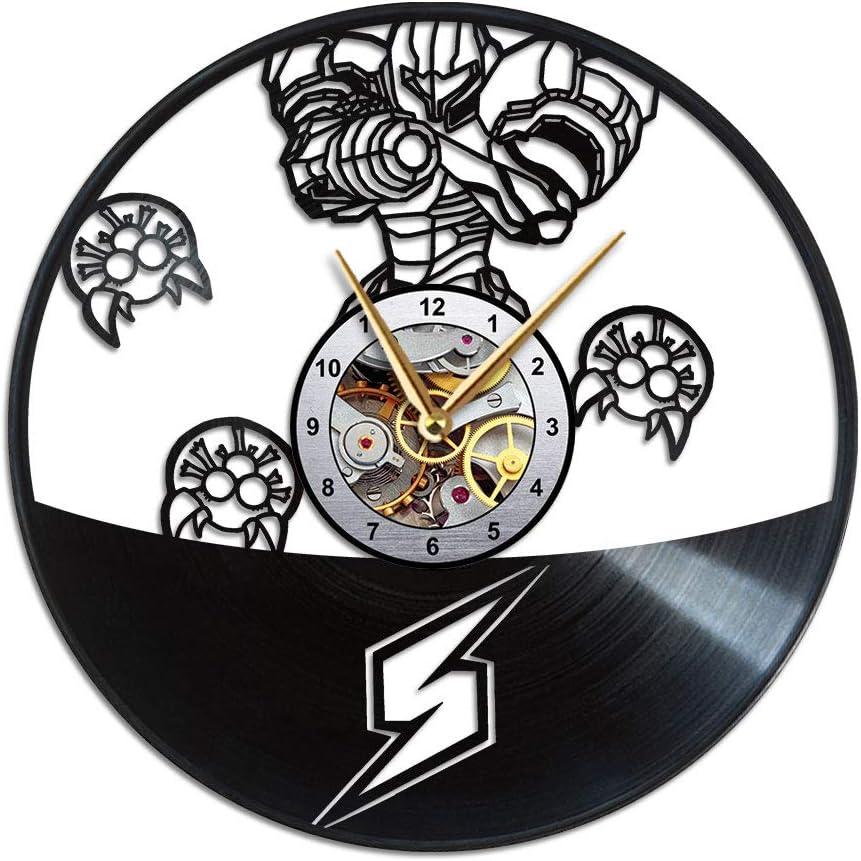 AroundTheTime Metroid Clock - Samus Aran Gift Decor - Vinyl Record Wall Clock