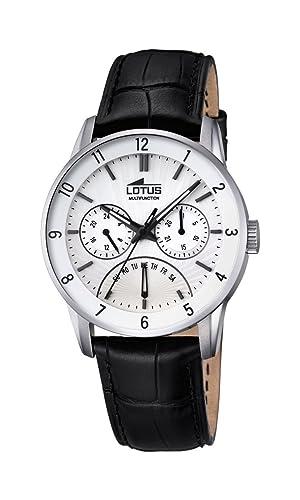 1a3eaa4318a0 Lotus - Reloj con Mecanismo de Cuarzo para Hombre Color Blanco Esfera  analógica Pantalla y Correa de Cuero Negro 18216 1  Amazon.es  Relojes