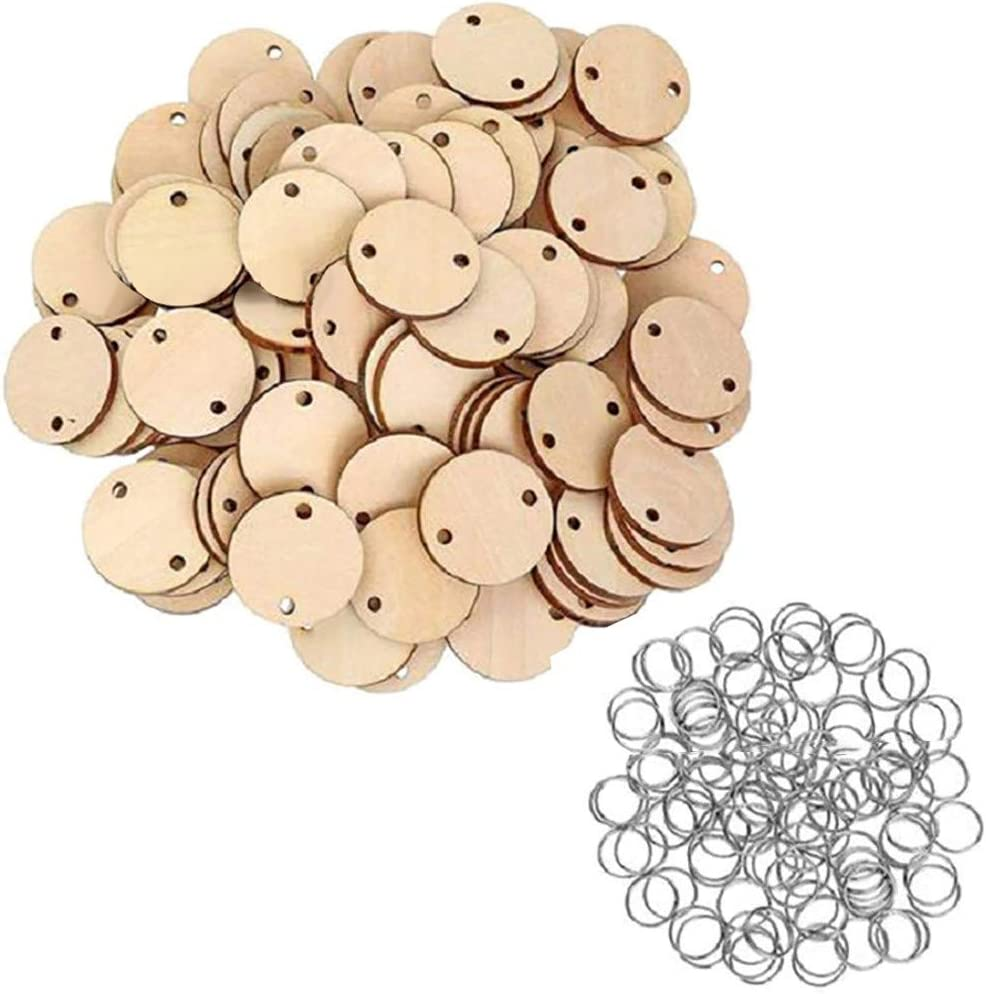 RINKOUa 50PCS Heart Wooden Discs with 2 Holes 50Pcs Heart Blank Wooden Ornaments Wood Circles Slices for DIY Calendar Favor Tags Pendant Decoration Birthday Board Tags for Arts and DIY Crafts