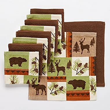 10 Pc Wildlife Kitchen Dish Cloth Set Perfect for Your Hunting Lodge or Log Cabin Featuring Bear Deer Moose
