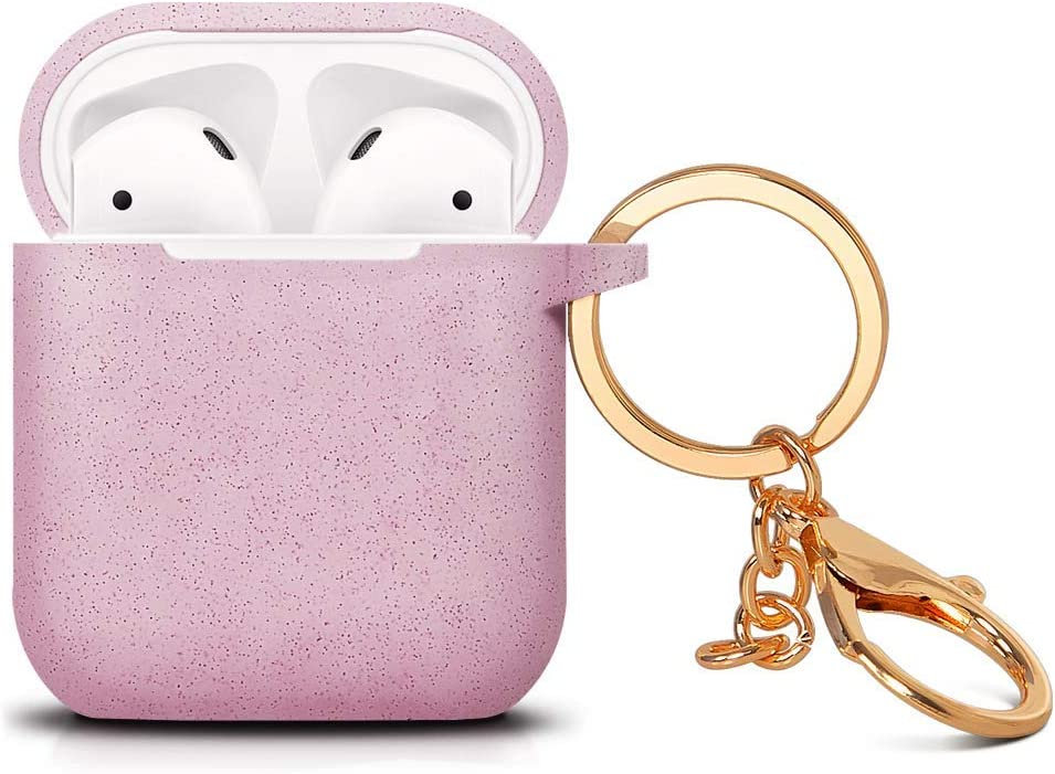 Digcreat Compatible for AirPods Case with Keychain Shockproof Protective Premium Silicone Cover Skin for AirPods Charging Case 2 /& 1 AirPods 2, Pink