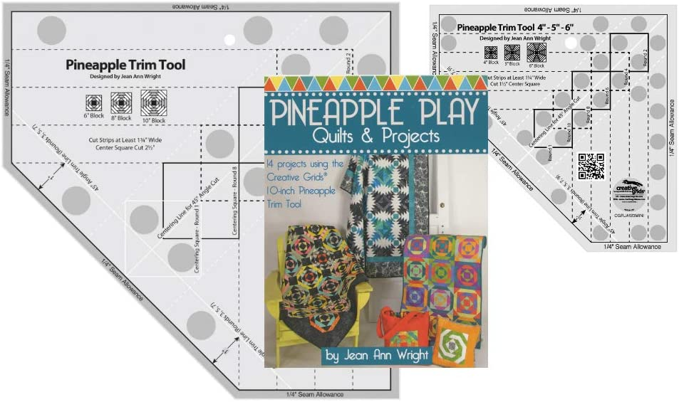 Creative Grids Bundle - Pineapple Trim Tool (CGRJAW3), Pineapple Trim Tool Mini (CGRJAW3MINI) with 64 Page Book Pineapple Play by Jean Ann Wright