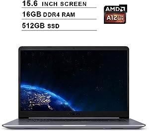 Asus 2019 VivoBook F510QA 15.6 Inch FHD Laptop Computer (AMD Quad Core A12-9720P up to 3.6 GHz, 16GB RAM, 512GB SSD, AMD Radeon R7, Bluetooth, WiFi, HDMI, Windows 10)