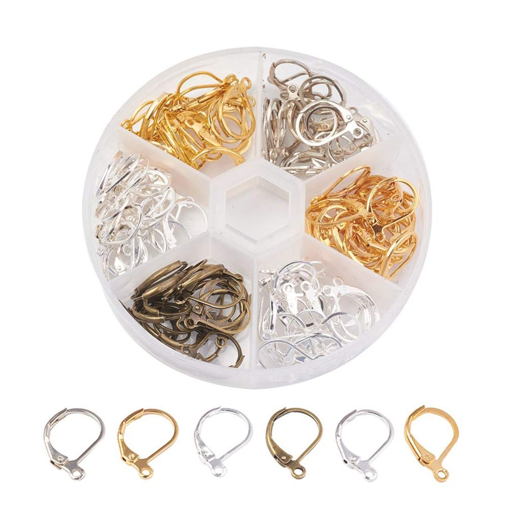 Kissitty 20-Piece Silver Brass French Style Lever Back Square Blank Cameo Bezel Tray Cabochon Setting Earrings 15x15mm Inner Diamater